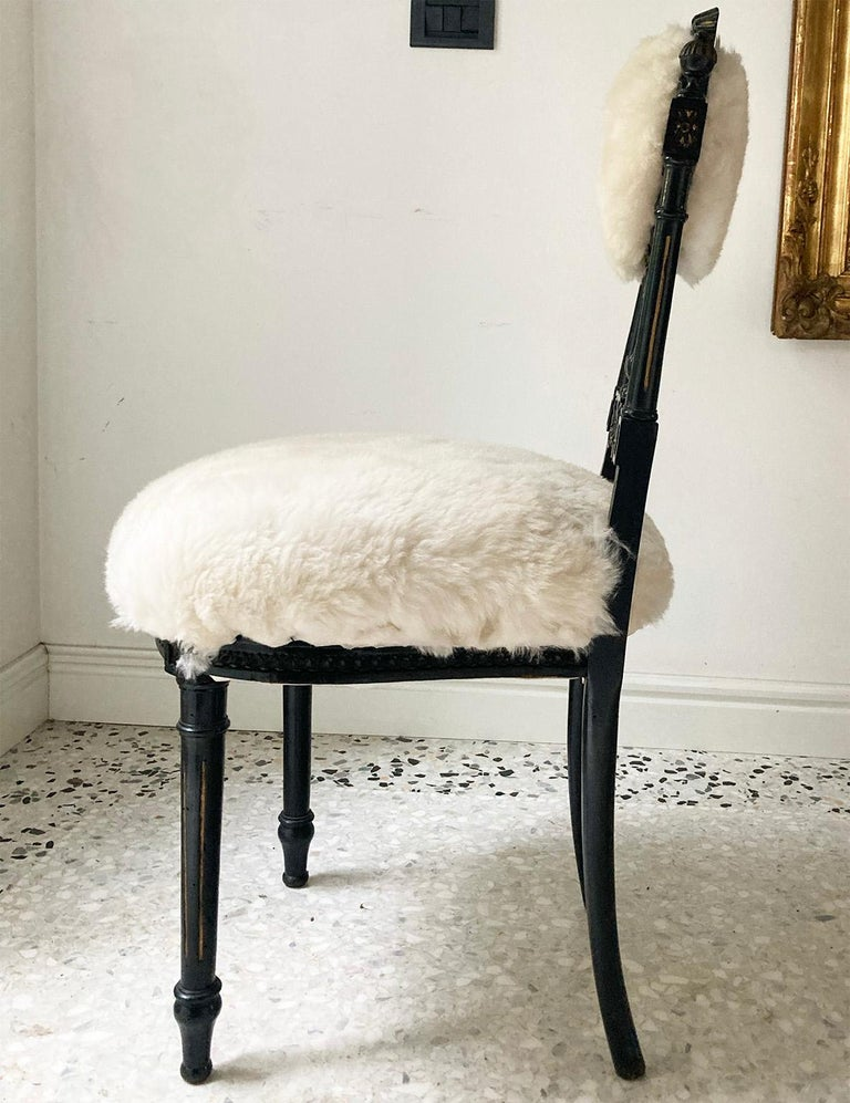 Pair of decorative Sicilian chairs provenance from Private Collection in Palermo ,  Covered with white soft sheep fur   The thick white hair in contrast with the thin worked wood creates a particular proportion.
