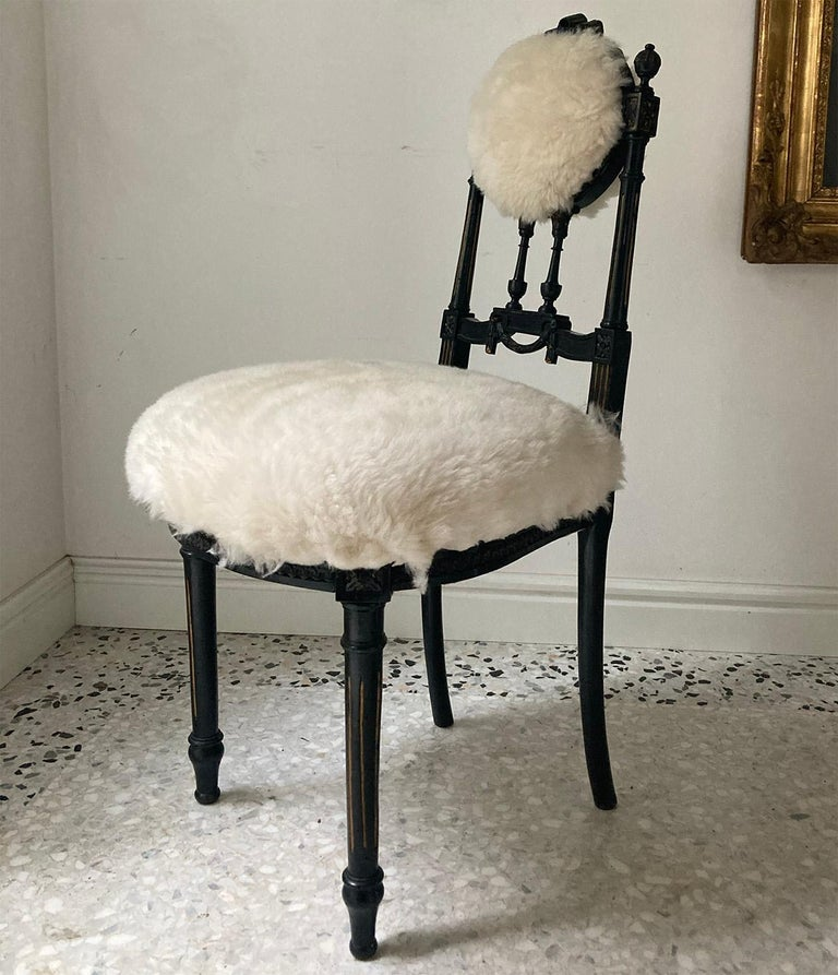 Louis XVI Fine Pair of Decorative Black Chairs with White Wool , Sicily Italy 1920's For Sale