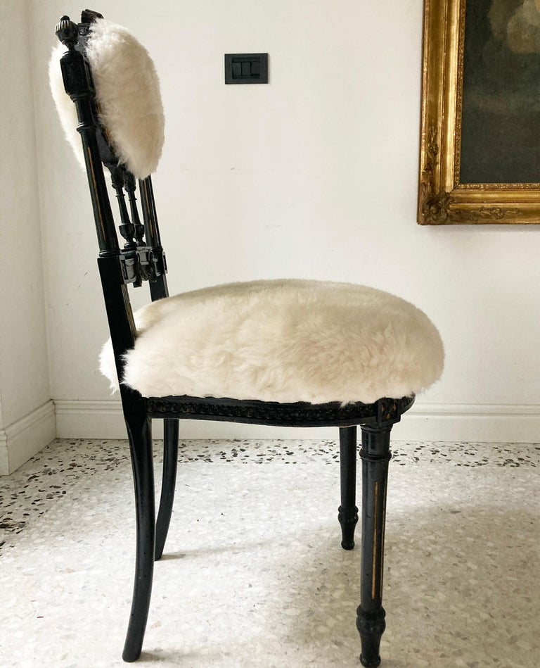 Sicilian Fine Pair of Decorative Black Chairs with White Wool , Sicily Italy 1920's For Sale