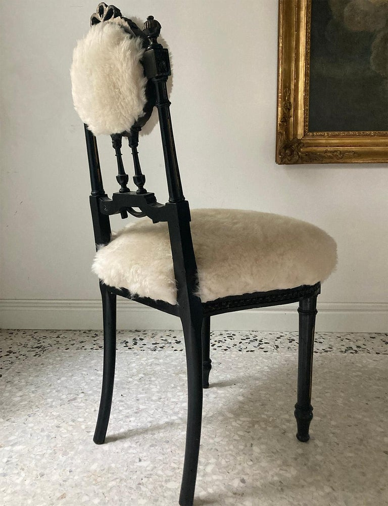 Early 20th Century Fine Pair of Decorative Black Chairs with White Wool , Sicily Italy 1920's For Sale