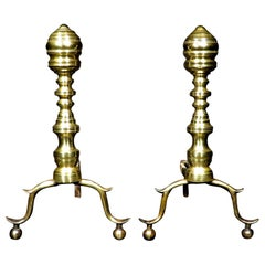 Pair of Early 19th Century Beehive Brass Andirons, New England Circa 1800