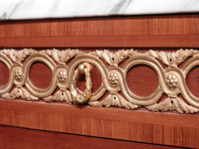 Gilt Fine Pair of Early 20th Century French Transitional Louis XV-XVI Kingwood Chests For Sale