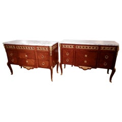 Fine Pair of Early 20th Century French Transitional Louis XV-XVI Kingwood Chests