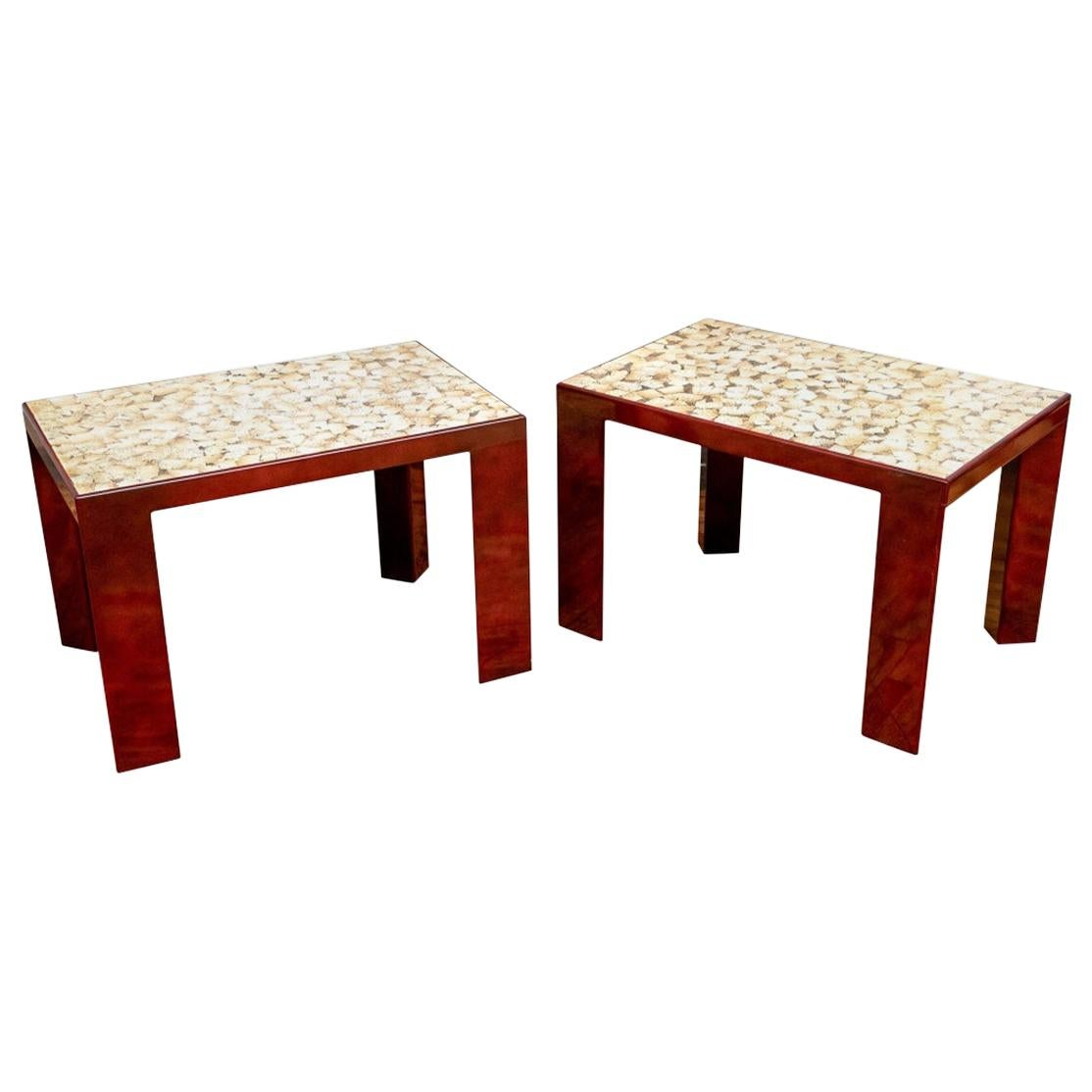 Fine Pair of Eggshell Lacquered Side Tables