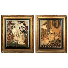 Fine Pair of English 18th Century Silkwork Pictures