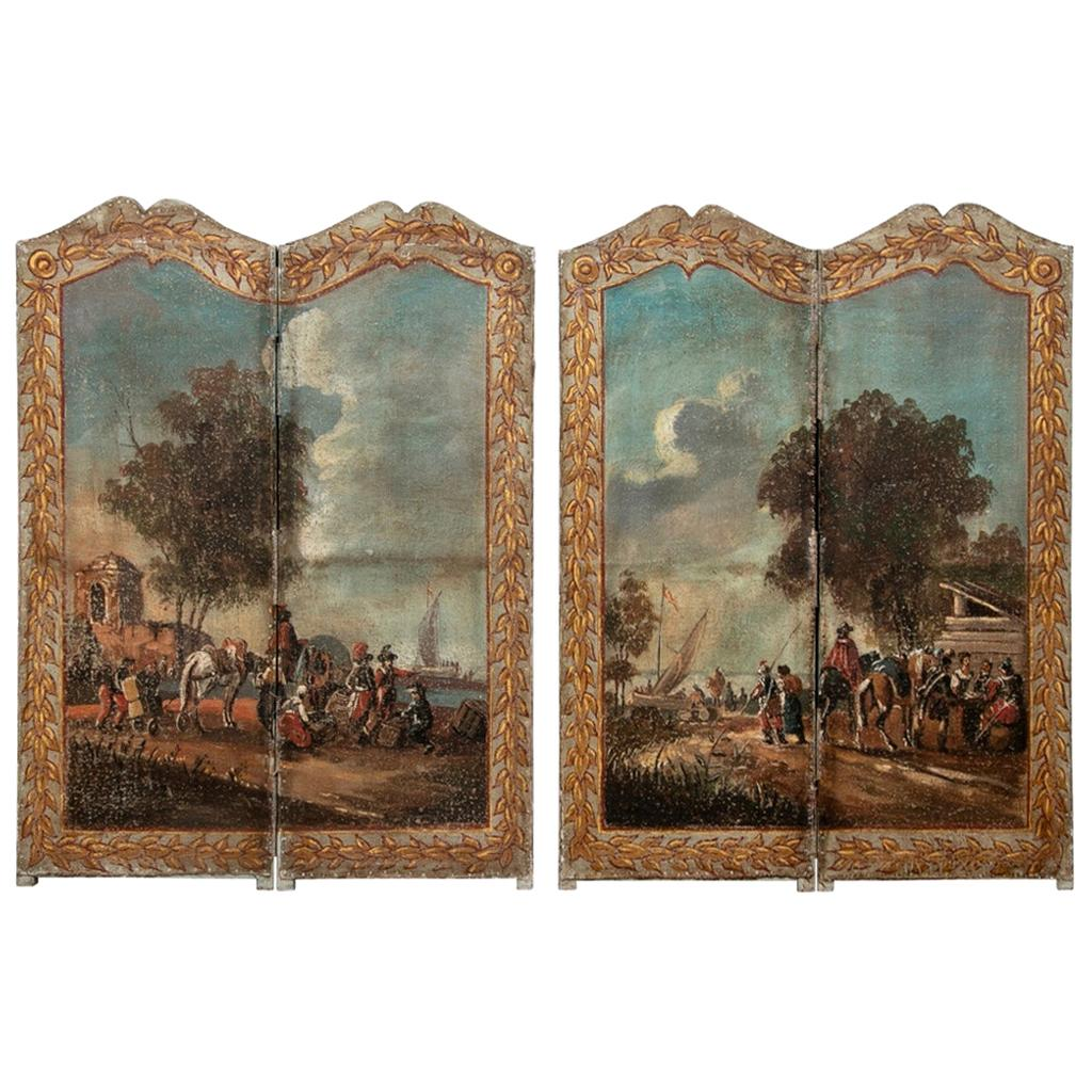 Fine Pair of Fine 18th Century Painted European Screens