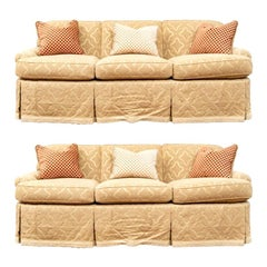 Fine Pair of Fine Quality Custom Upholstered Sofas