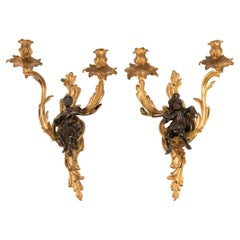 Fine Pair of French 19th-20th Century Louis XV Style Figural Wall Light Sconces