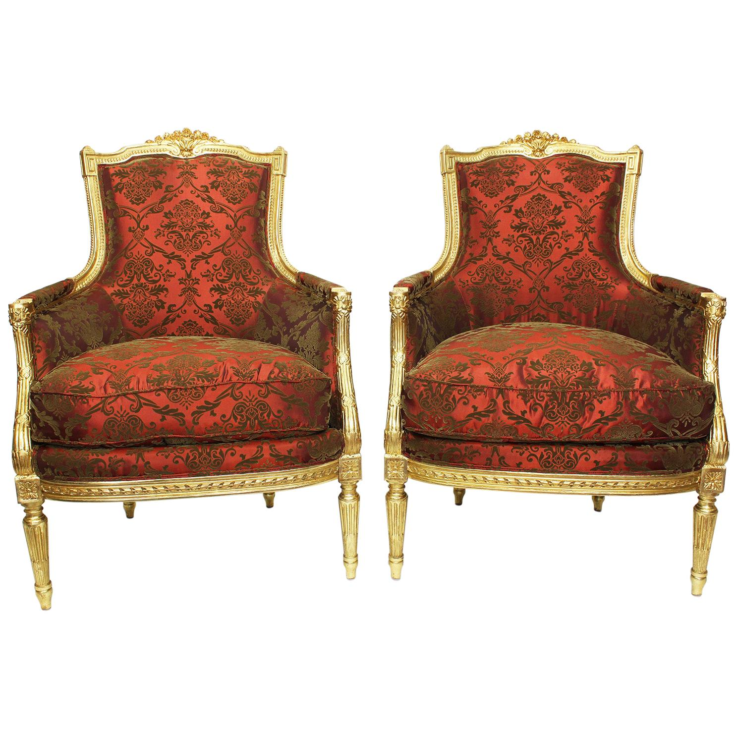Fine Pair of French 19th-20th Century Louis XVI Style Giltwood Carved Armchairs