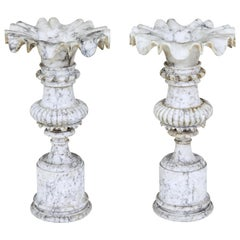 Fine Pair of French 19th Century Decorative Alabaster Urns