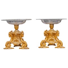 Fine Pair of French 19th Century Louis XVI Gilt Bronze and Crystal Candy Dishes