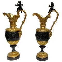 Fine Pair of French Bronze Ormolu Ewers Manner of Claude Michel Clodion