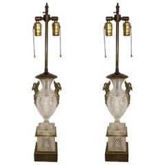 Fine Pair of French Diamond Cut-Crystal Urn Bronze Swan Ormolu Handles Lamps