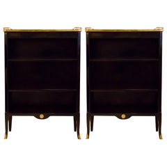 Fine Pair of French Ebonized Marble-Top Bookcases with Bronze Gallery