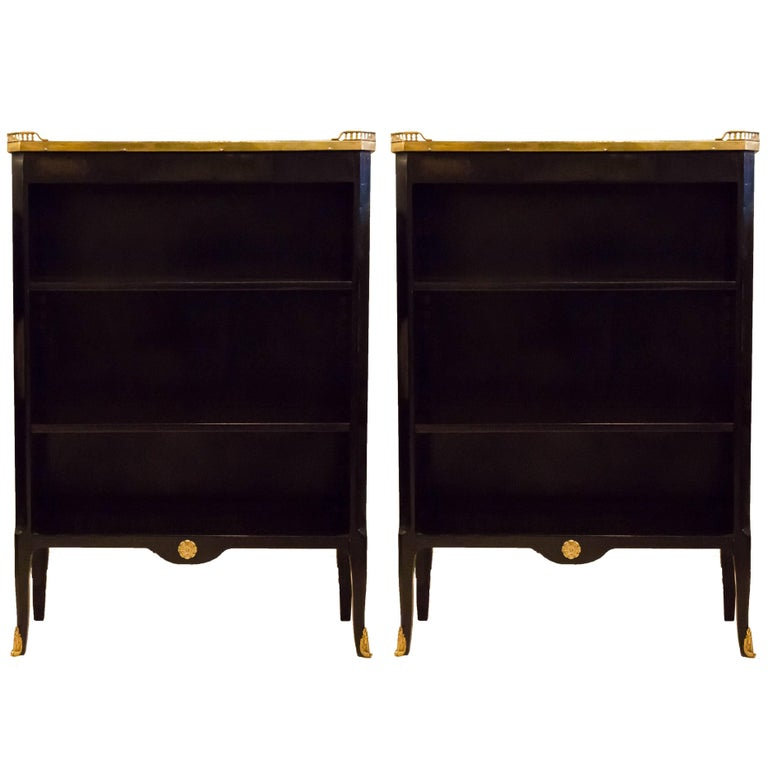 Fine Pair of French Ebonized Marble-Top Bookcases with Bronze Gallery For Sale