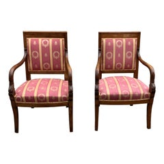 Fine Pair of French Empire Style Solid Mahogany Accent Chairs, 1900s