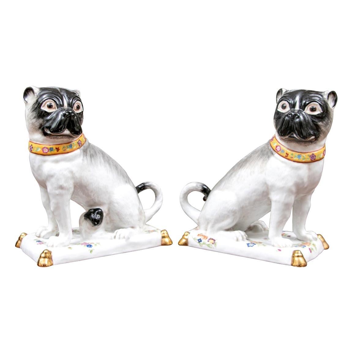 Fine Pair of French Sèvres Porcelain Pug Figures
