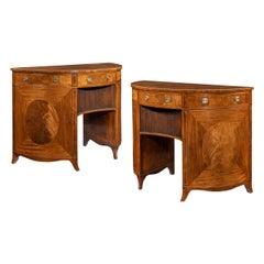 Fine Pair of George III Figured Mahogany Side Cabinets, Thomas Sheraton
