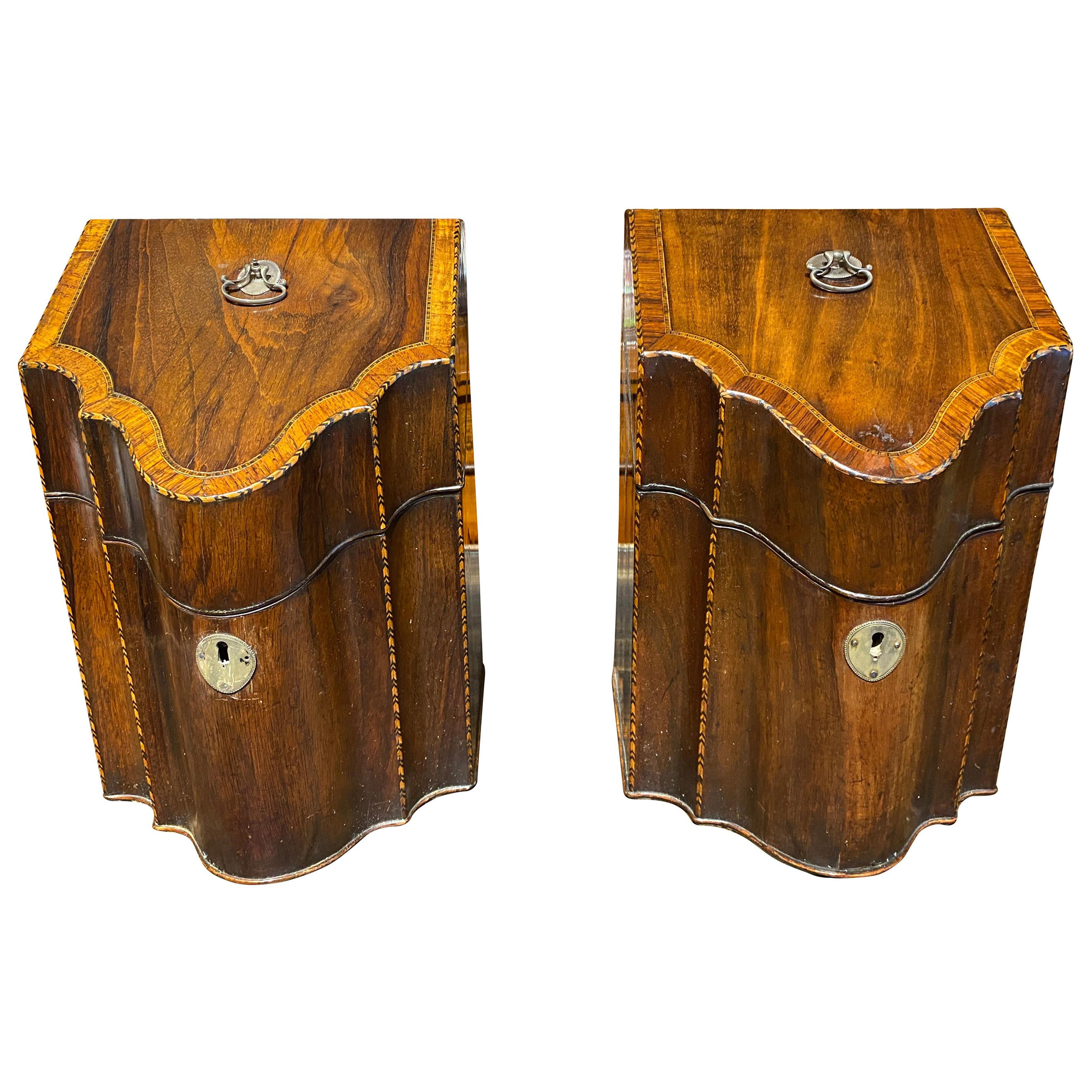 Fine Pair Of George III Mahogany And Crossbanded Cutlery Boxes
