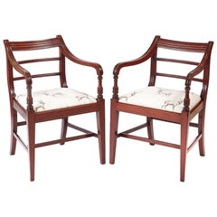 Fine Pair of George III Mahogany Elbow / Desk Chairs