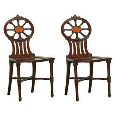 Fine Pair of George III Mahogany Hall Chairs by Gillows, Lancaster