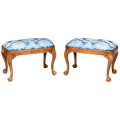 Fine Pair of Georgian Style Antique Carved Walnut Footstools