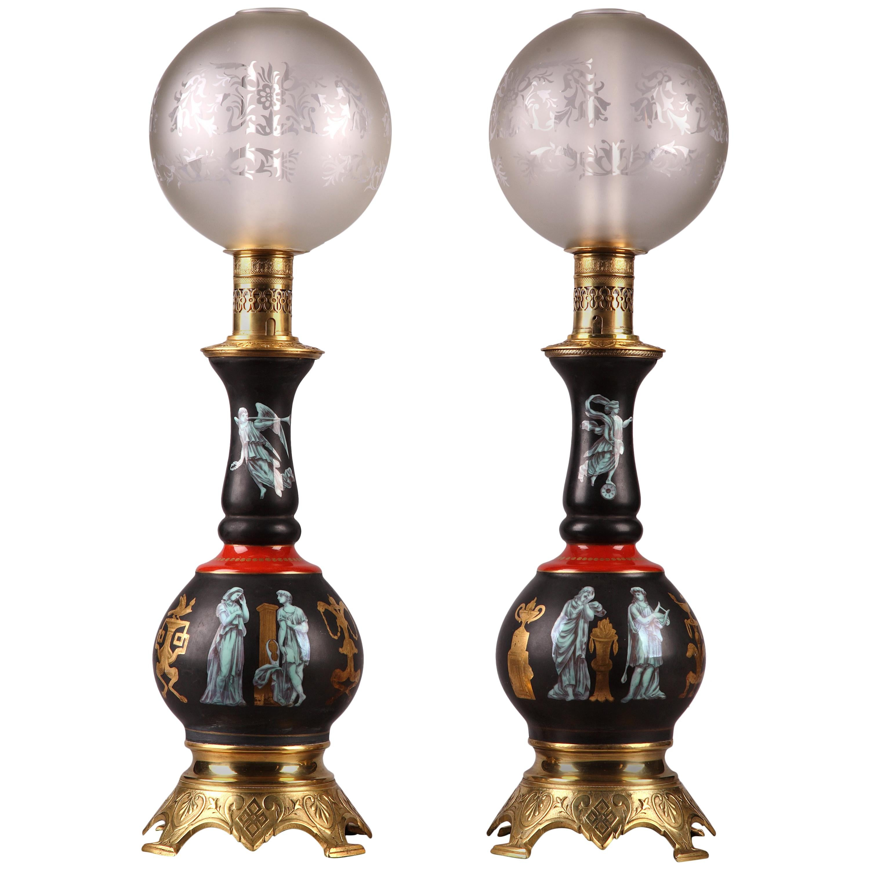 Fine Pair of Gilded Bronze and Black Mounted Porcelain Pompeian Style Lamps