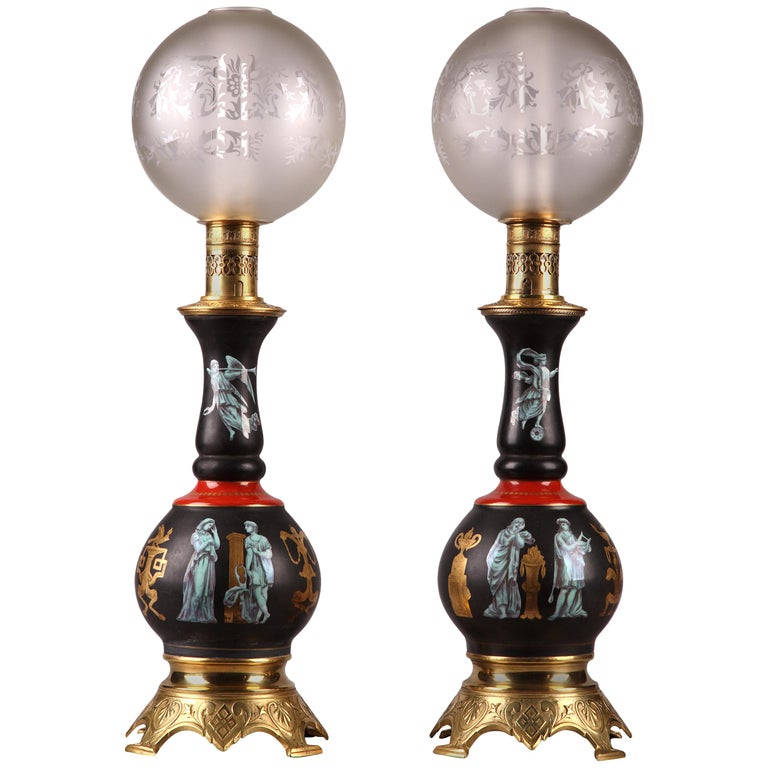 Fine Pair of Gilded Bronze and Black Mounted Porcelain Pompeian Style Lamps For Sale