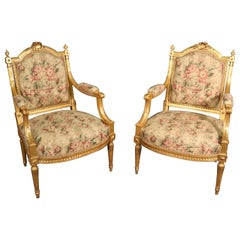 Fine Pair of Gilded Carved Tapestry French Louis XVI Fauteuil Open Armchairs