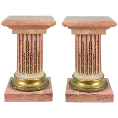 Fine Pair of Gilt Bronze-Mounted French Pink Marble Pedestal