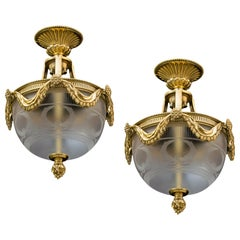 Fine Pair of Gilt Lacquered Plafonniers by Perry & Co