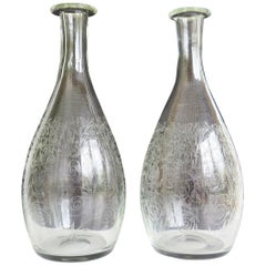Fine Pair 19th C. Lead Crystal Glass Carafes or Decanters Hand Blown & Engraved