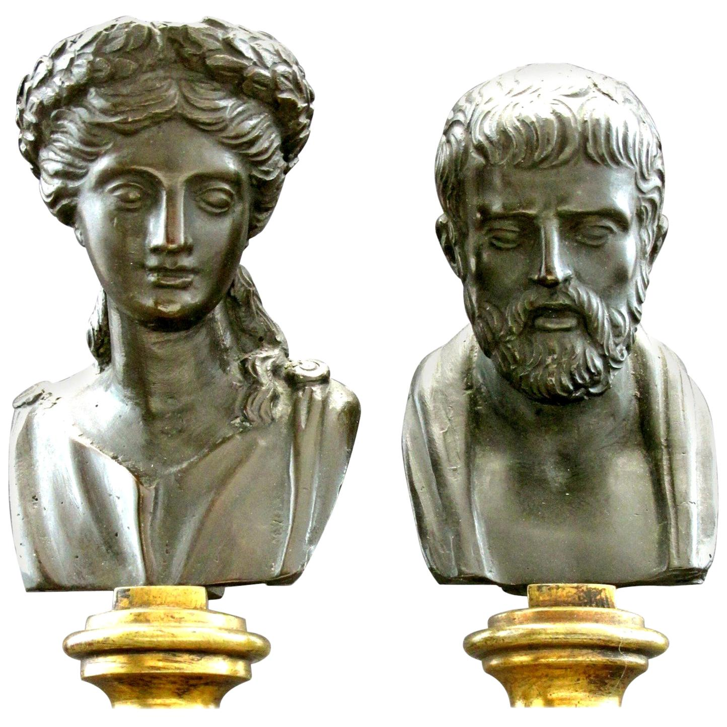 Fine Pair of Grand Tour Style Miniature Bronze Busts, Continental, circa 1900
