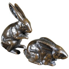 Fine Pair of Hand Cast Bronze Playful Rabbits from Old Japan