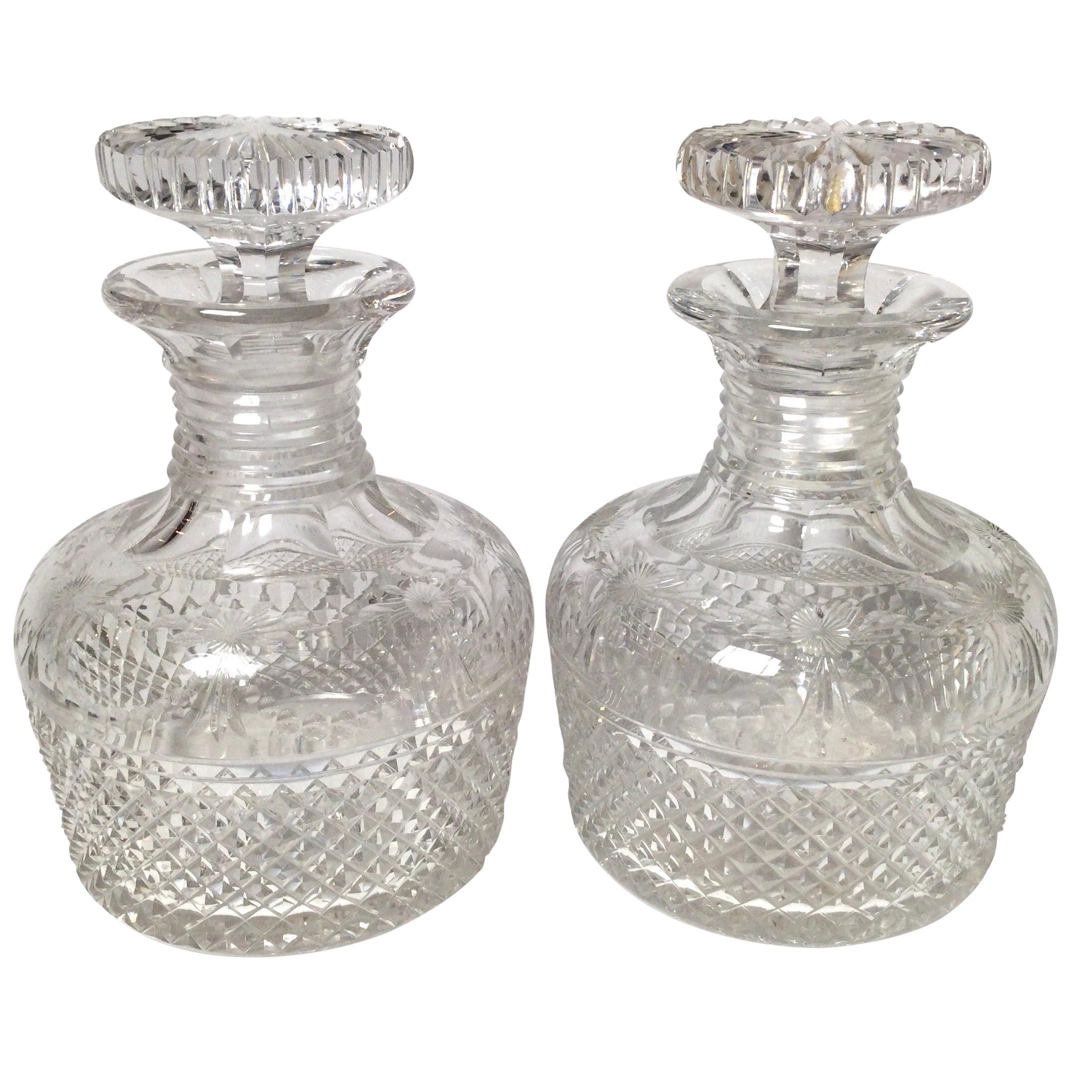 Fine Pair of Handcut English Decanters, 19th Century