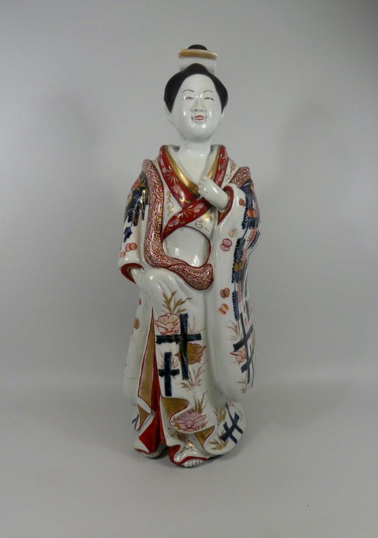 Fine Pair of Imari Porcelain Bijin, circa 1690, Genroku Period For Sale 12