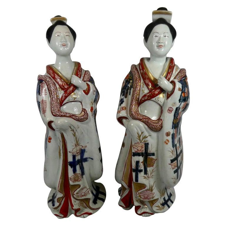 Fine Pair of Imari Porcelain Bijin, circa 1690, Genroku Period For Sale