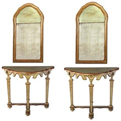 Fine Pair of Italian 18th Century Painted Console Tables with Mirrors