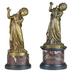 Fine Pair of Italian Bronze Figure of a Girl Holding a Dove by A. Messina