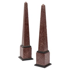 Fine Pair of Italian Grand Tour Egyptian Porphyry Obelisks