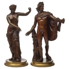 Fine Pair of Italian Patinated Bronze Sculptures by Salvatore Errico