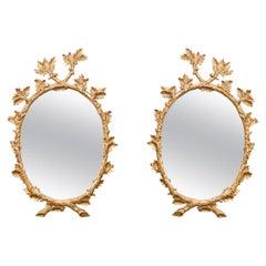 Fine Pair of John Rosselli Gilt Wood Mirrors with Carved Acorns & Oak Leaves