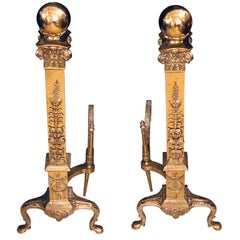 Fine Pair of Large and Impressive Louis XVI Style Brass and Irons