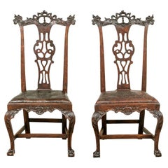 Fine Pair of Late 18th Century Carved Mahogany Side Chairs