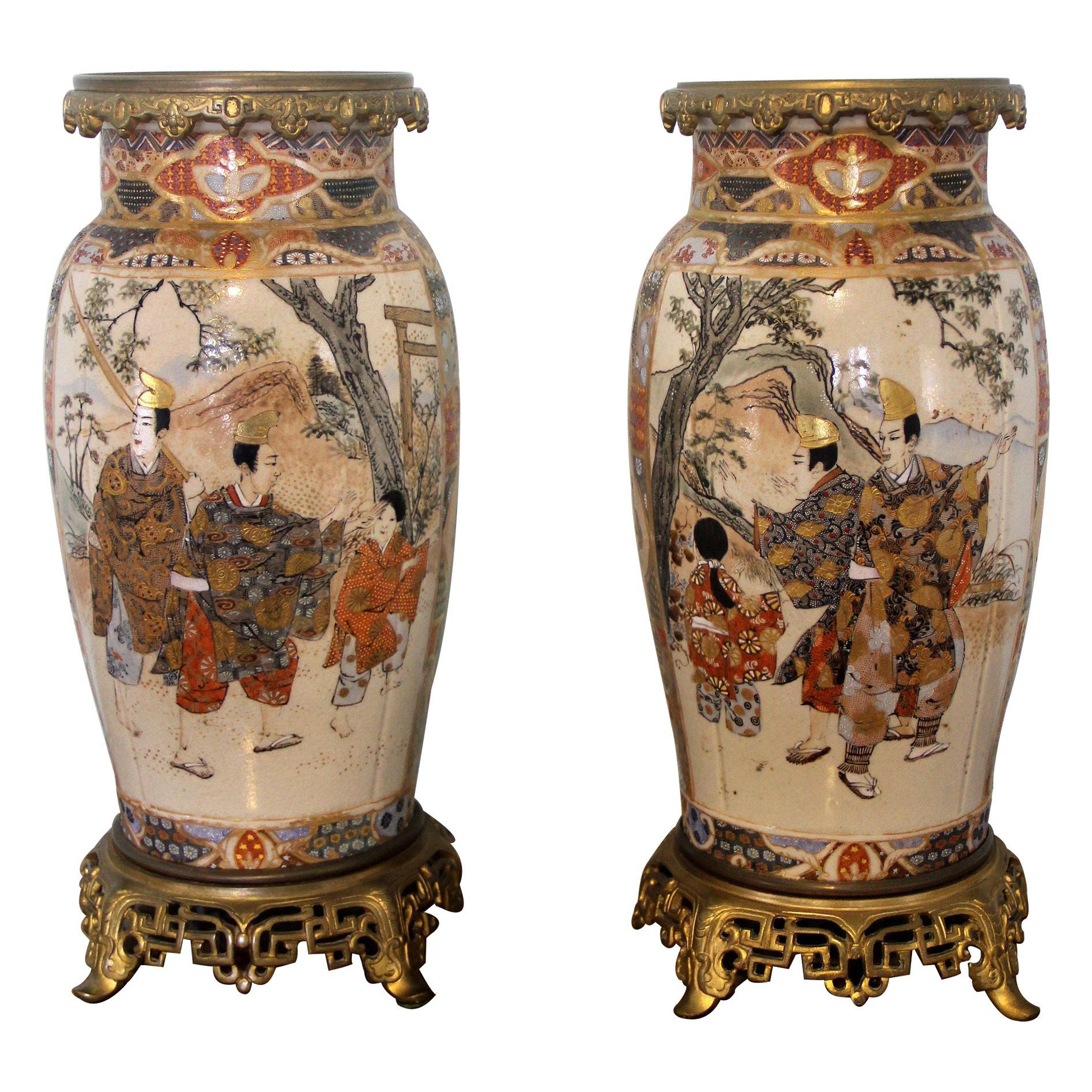 Fine Pair of Late 19th Century Gilt Bronze and Japanese Satsuma Porcelain Vases