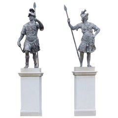 Fine Pair of Lead 18th Century Statues of Mars and Minerva by John Nost