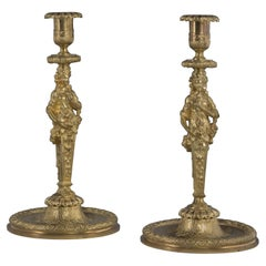 Fine Pair of Louis XIV Style Gilt Bronze Figural Candlesticks, circa 1860