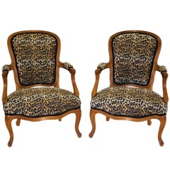 Pair of Louis XV Style Chauffeuses or Fauteuils by Saridis in Leopard Chenille