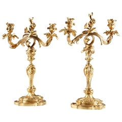 Fine Pair of Louis XV Style Gilded Bronze Two-Light Candelabras