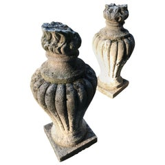 Fine Pair of Louis XVI French Provincial Stone Finials